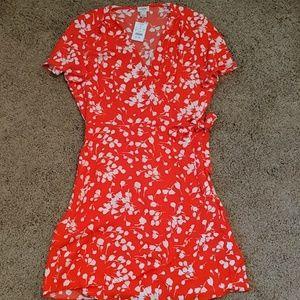 J Crew red wrap dress